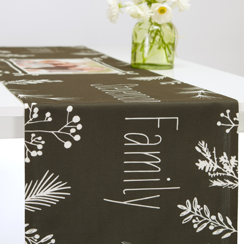 Holiday Chalk Table Runner, 90 x 14, Black