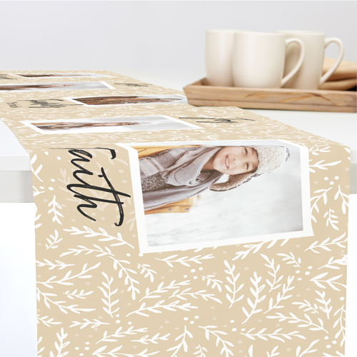 Foliage Craft Collage Table Runner, 90 x 14, Brown