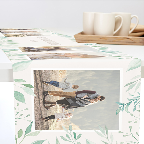 Foliage Border Collage Table Runner, 108 x 16, Beige