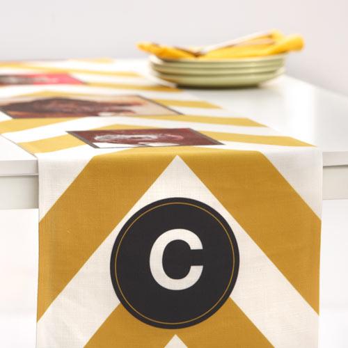 Chevron Monogram Table Runner, 108 x 16, Yellow