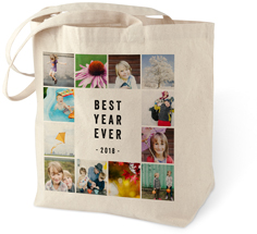 best year collage cotton tote bag