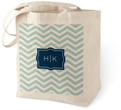 chevron monogram cotton tote bag