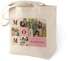 colorblock mom cotton tote bag