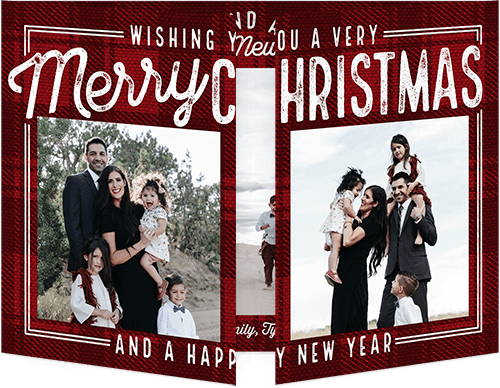 Plaid Wishes Holiday Card, Square Corners