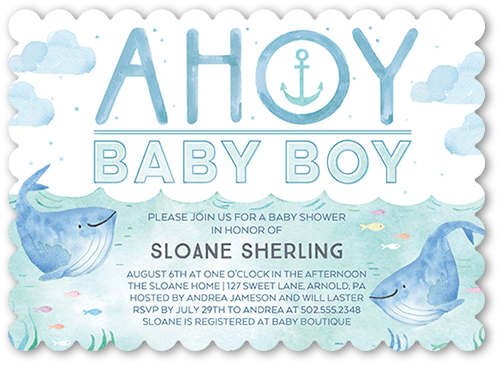 Ahoy Baby Baby Shower Invitation, Scallop Corners