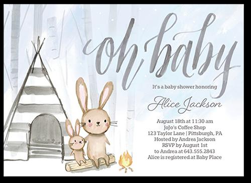 Bunny Foofoo Boy Baby Shower Invitation