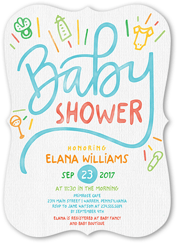 Baby Drawings Baby Shower Invitation, Square