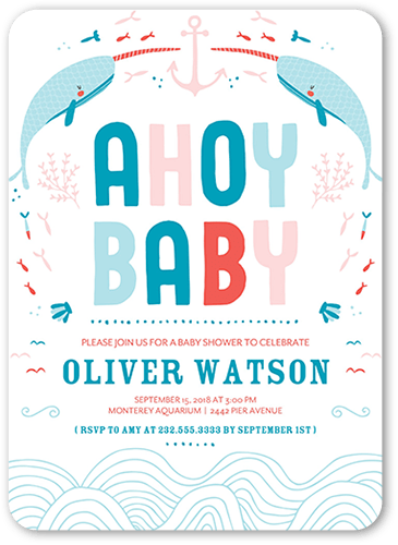 Nautical Narwhals Baby Shower Invitation, Rounded Corners