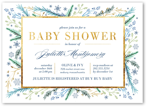 snow foliage 5x7 unique baby shower invitations tiny prints