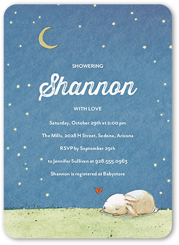 Starry Slumber Baby Shower Invitation, Rounded Corners