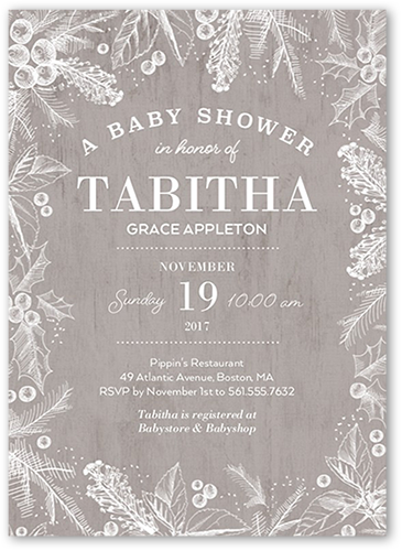 Wintry Border Baby Shower Invitation, Square Corners