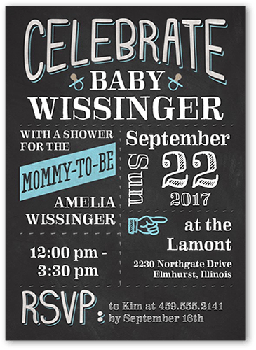 Baby Bulletin Boy Baby Shower Invitation, Square Corners