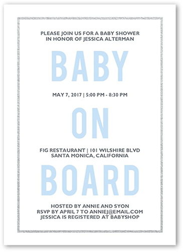 Blissful Baby Boy Baby Shower Invitation, Square Corners