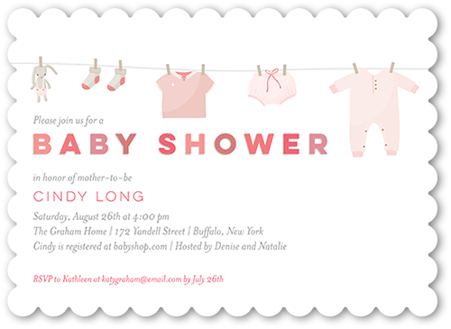Clothes Shower Girl Baby Shower Invitation, Scallop Corners