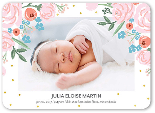Blooming Floral Birth Announcement