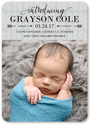 Arrowed Intro Boy Birth Announcement, Rounded Corners