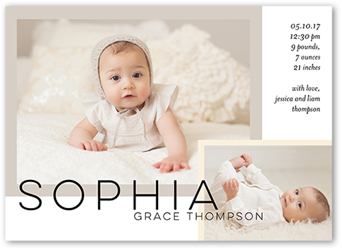 Sweet Layered Moments Birth Announcement, Square Corners