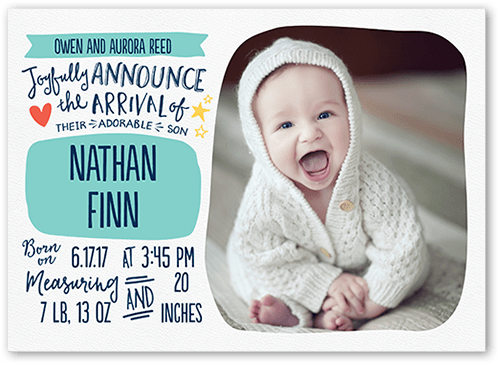 Precious Scribbles Boy Birth Announcement, Square Corners