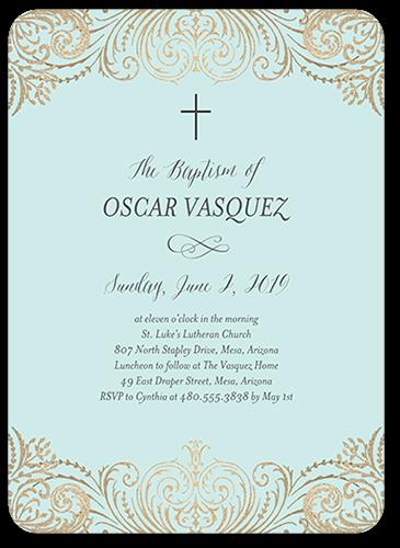 Blessed And Elegant Boy Baptism Invitation