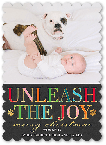 Joy Unleashed Holiday Card, Scallop Corners