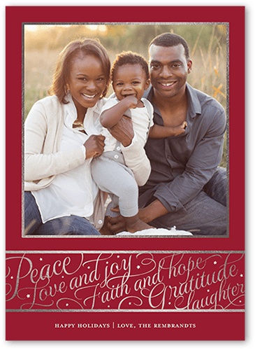 Peace and Gratitude Holiday Card, Square Corners