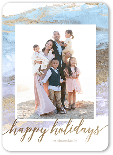 Sea Wash Celebration Holiday Card, Rounded Corners