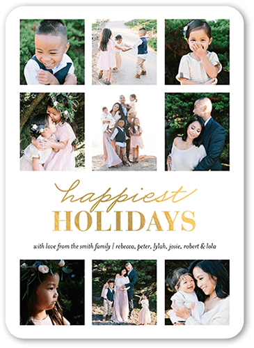 Happiest Collage Holiday Card, Rounded Corners