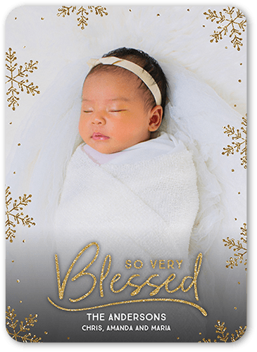 Blessed Flakes Holiday Card, Rounded Corners