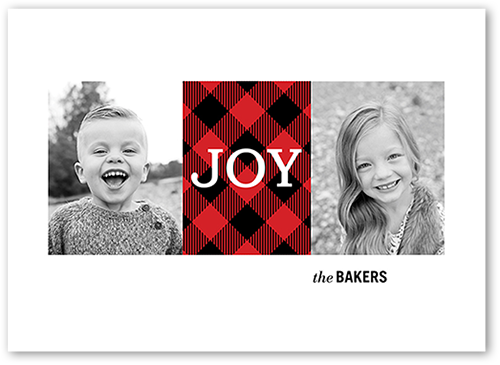 Classic Plaid Joy Holiday Card, Square Corners