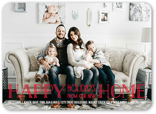 Homey Greeting Holiday Card, Rounded Corners