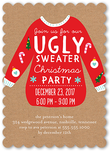 Sweater Celebration Holiday Invitation, Scallop Corners