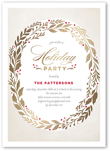 Brilliant Wreath Holiday Invitation, Square Corners