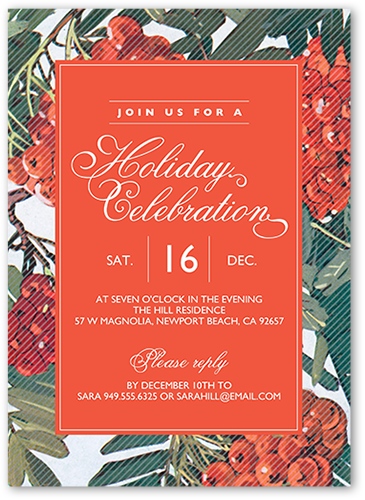 Winter Botanical Holiday Invitation, Square Corners
