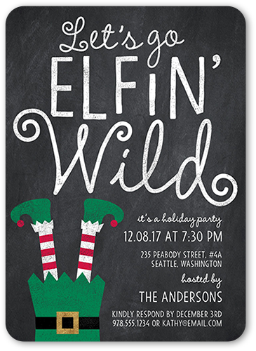 Elfin Wild Holiday Invitation, Rounded Corners