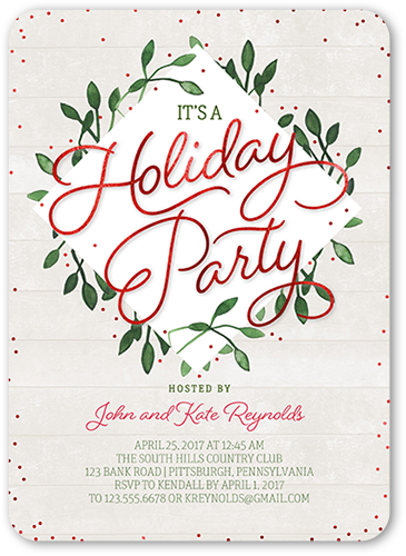 Greenery Border Holiday Invitation, Rounded Corners