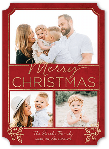 Ornamental Holly Christmas Card, Square