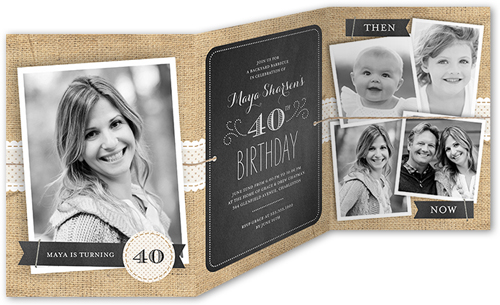 Chalkboard Burlap Birthday Invitation, Square