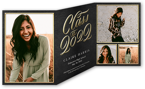 Sophisticated Type 5x7 Tri Fold Graduation Announcements Cards
