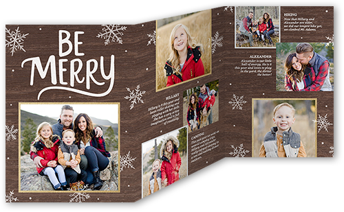 Be Merry Flurries Christmas Card, Square