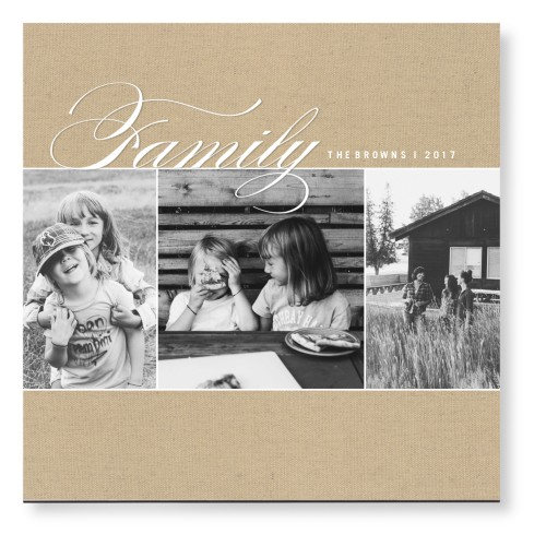 Family Burlap Collage Mounted Wall Art, Single piece, None, 16 x 16 inches, Beige