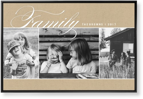 Family Burlap Collage Mounted Wall Art, Single piece, Black, 24 x 36 inches, Beige