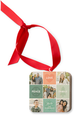 peace love family wooden ornament