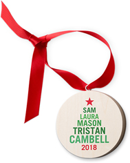 family name tree wooden ornament