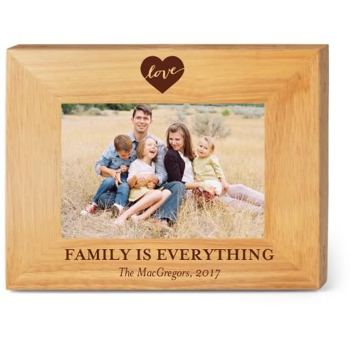 Love Script Wood Frame, - Photo insert, 9x7 Engraved Wood Frame, White