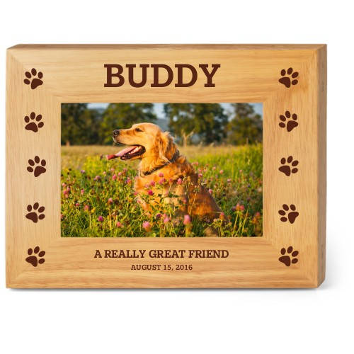 Paw Trails Wood Frame, - Photo insert, 9x7 Engraved Wood Frame, White
