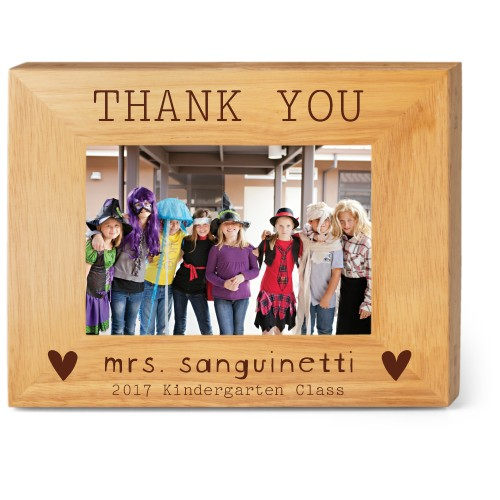 Thank You Heart Wood Frame, - No photo insert, 9x7 Engraved Wood Frame, White