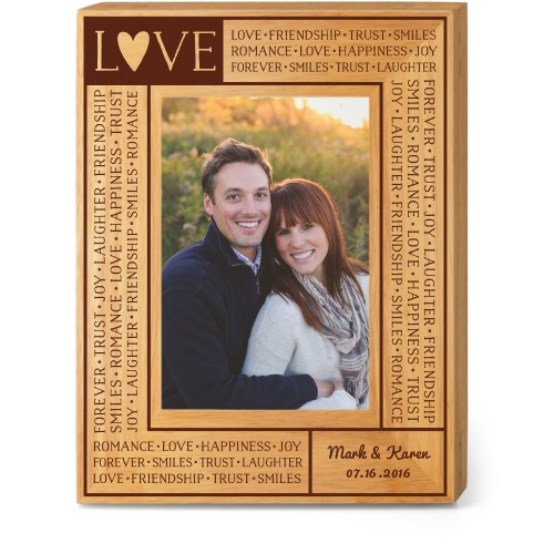 Love Letters Wood Frame, - Photo insert, 7x9 Engraved Wood Frame, White