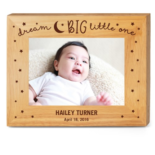 Dream Big Wood Frame, - No photo insert, 10x8 Engraved Wood Frame, White