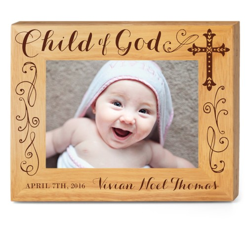 Child of God Wood Frame, - Photo insert, 10x8 Engraved Wood Frame, White
