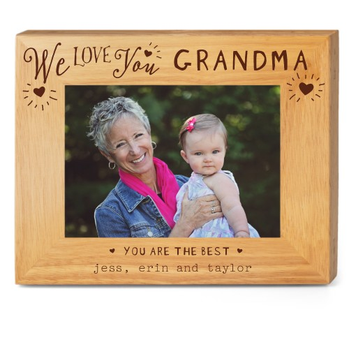Hearts Full Grandma Wood Frame, - Photo insert, 10x8 Engraved Wood Frame, White